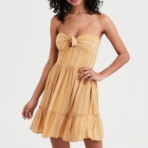american eagle / yellow striped  babydoll dress M